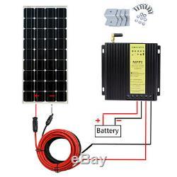 100W 12 Volt Mono Solar Panel Kit withMPPT Controller 12V Battery Charge RV Boat