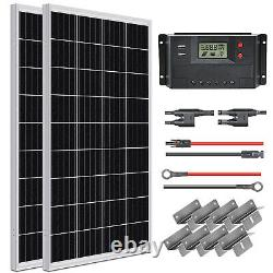 100W 200W Solar Panel Kit 12Volt Battery Charge Controller RV Camper Marine