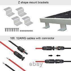 100 Watt 100W Solar Panel Kit 12 Volt Battery Charger RV Travel Camper Van Boat