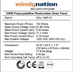 100 Watt 100W Solar Panel for 12 Volt Battery Charging RV, Boat, Off Grid