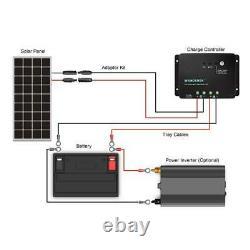 100-Watt 12-Volt Monocrystalline Solar Panel Off-Grid Negative Ground Controller