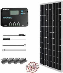 100 Watt 12 Volt Monocrystalline Solar Panel Starter Charger Controller Kit New