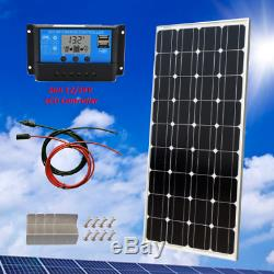 100 Watt 12 Volt Monocrystalline Solar Starter Kit + 20A LCD Charge Controller