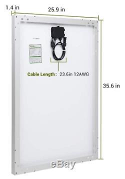 100 Watt 12 Volt Polycrystalline Solar Panel with MC4 Connectors High Efficiency
