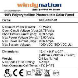 10W 10 Watt Solar Panel 12V 12 Volt Battery Charger Off Grid, RV, Boat, Gate