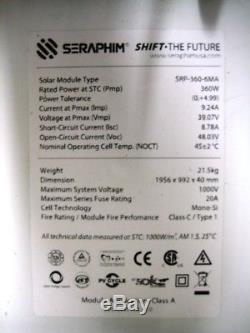 10 B GRADE Seraphim Solar, 360 Watt, 24 Volt, Mono UL GRID TIE AMERICAN MADE