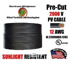 12 AWG Gauge PV Wire 1000/2000 Volt Pre-Cut 15-500 Ft for Solar Installation