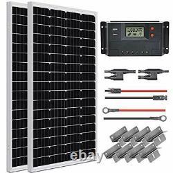 200 Watt 12 Volt Solar Panel Starter Kit, High Efficiency Monocrystalline PV