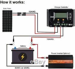 200 Watt 24 Volt Moncrystalline Solar Panel Battery Power Generator RV Camping