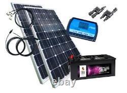 200 Watt Camping Solaranlage, 12 Volt SET mit Batterie