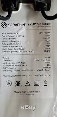 25 B GRADE Seraphim Solar, 340 Watt, 24 Volt, Mono UL GRID TIE AMERICAN MADE