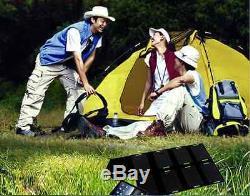 28 Watt 18 Volt Folding Solar Panel Charger Mobile Portable Camping Light Remote