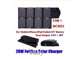28 Watt 18 Volt Folding Solar Panel Laptop Mobile Phone Charger Portable Camping