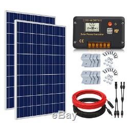 2-100W 200W 12V Watt Solar Panel Kit For 12 Volt Battery Charge RV Boat Marine