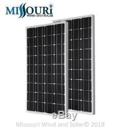 2 12 Volt 100 Watt Monocrystalline Solar Panels