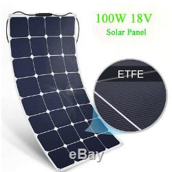 2 X100W Mono18V Solar Panel Volt Off-Grid Battery Charge RV Boat Roof Flexible