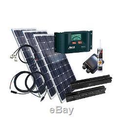 300 Watt Wohnmobil Camping Solaranlage BLACK mit Steca PR2020, 12 Volt SET