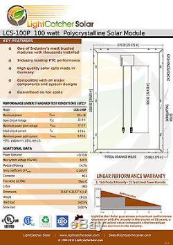 (4 pcs) 100W Watts 100 Watt Solar Panel Off Grid 12 Volt 12V RV Boat Off Grid +