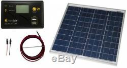 50-Watt Off-Grid Solar Panel Kit Dual USB Ports Ideal 12-Volt 24-Volt battery