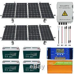 800W 1600W Watt 24 Volt Complete Solar Panel Kit For Home Garden Farm Ground