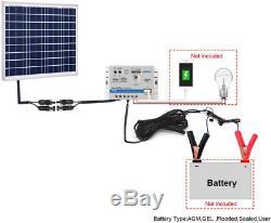 ACOPOWER 50 Watt 10A Solar Panel Kit, 12Volts Polycrystalline Solar Panel & 10A