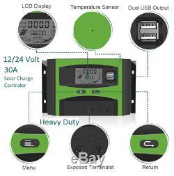 American Solar 480 watt 400W Kit 12 24 volt complete RV boat trailer barn cabin