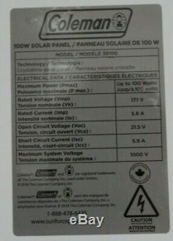 Coleman Crystalline 100 Watt Solar Panel 12 Volt RV/Boat 40 Weatherproof