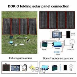 DOKIO 300 Watts 12 Volts Monocrystalline Foldable Solar Panel with Inverter