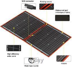 DOKIO 80 watt 12 volt Folding Solar Panel Kit for Camping (LIGHTWEIGHT 4lb) Sola