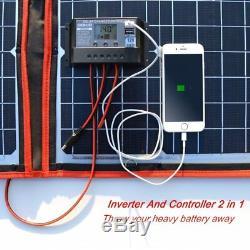 Dokio 200 Watts 12 Volts Monocrystalline foldable Solar Panel with Inverter