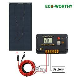 Eco-Worthy 100 Watt 12 Volt Flexible Monocrystalline Solar Panel Kit Ultra Light