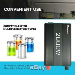 Grid Battery Inverter USB Port 2000-Watt Solar 12-Volt Pure Sine Wave Off