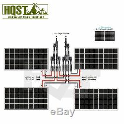 HQST 400 Watt 12 Volt Poly Solar Panel Kit with 30A PWM WithLCD Charge Controller