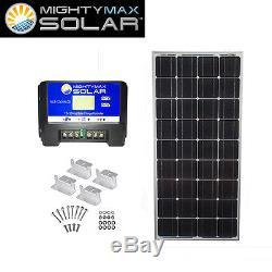 Mighty Max 100 Watts 12 Volts Monocrystalline Solar Bundle Kit