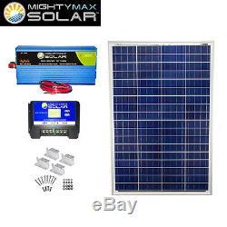 Mighty Max 100 Watts 12 Volts Polycrystalline Solar Bundle Kit