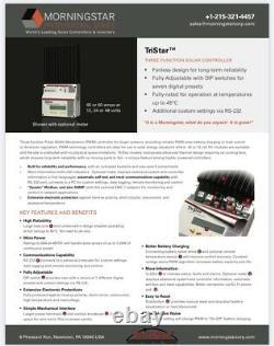 Morningstar TriStar 60A PWM Solar/Wind Charge Controller 12/24/48 Volt, Off-Grid