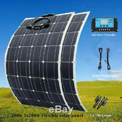 NEW 2 PCS 100 Watt 12/24 Volt Polycrystalline Solar Panel 100W with LCD controller