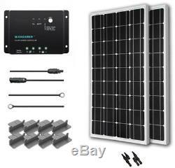Off-Grid Solar Panel Kit System Power 200-Watt 12-Volt Monocrystalline Quiet
