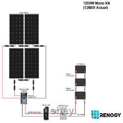 Renogy 1200W Watt 12 Volt Mono Kit 4 Pcs of 320W Panels 1200W for Cabin/RV/Boat