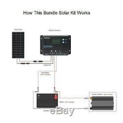 Renogy 12-Volt 100-Watt Monocrystalline Bundle Kit Solar Panel with Wanderer 10