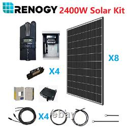Renogy 2400W Watt 48V Volt Mono Kit 8 Pcs of 320W Panels 2500W for Cabin/RV/Boat