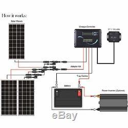 Renogy 300 Watts 12 Volts Monocrystalline Solar RV Kit Off-Grid Kit + Cables