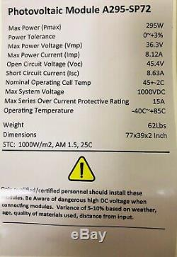 Solar Panel 295 Watt With 12 Volt Battery AGM 145/amp Hr. Qty 2 PICK UP ONLY