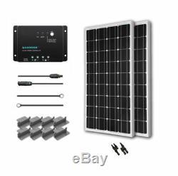 Solar Panel Starter Kit, 200-Watt 12-Volt Monocrystalline Off-Grid Solar System