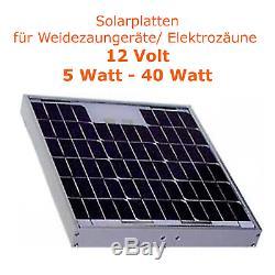 Solarmodule 5-40 Watt 12 Volt Weidezaungerät Elektrozaun Weidegeräte Solarplatte