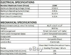 Sonali Solar 210 Watt 24 Volt Monocrystalline Solar Panel (24V) (210W X 1pc)