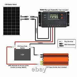 WEIZE 200 Watt 12 Volt Monocrystalline Solar Panel 2 Pack of 12V 100W High-Ef