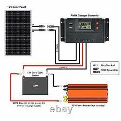 WEIZE 200 Watt 12 Volt Solar Panel Starter Kit, High Efficiency Monocrystalline