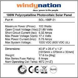 WindyNation 100-Watt 12-Volt Off-Grid Polycrystalline Solar Starter Kit with LCD