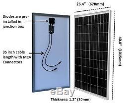 Windy Nation 100 Watt Solar Panel for 12 Volt Battery Charging RV Boat Off Grid